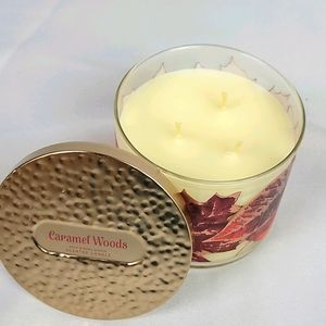 New Bath and body works caramel woods candle